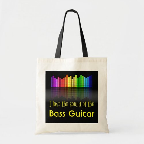 Rainbow Digital Sound Equalizer Bass Guitar Budget Tote Bag