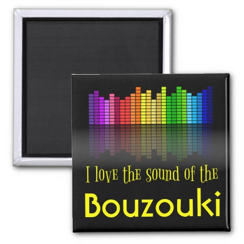 Rainbow Digital Sound Equalizer Love Sound Bouzouki 2-inch Square Magnet