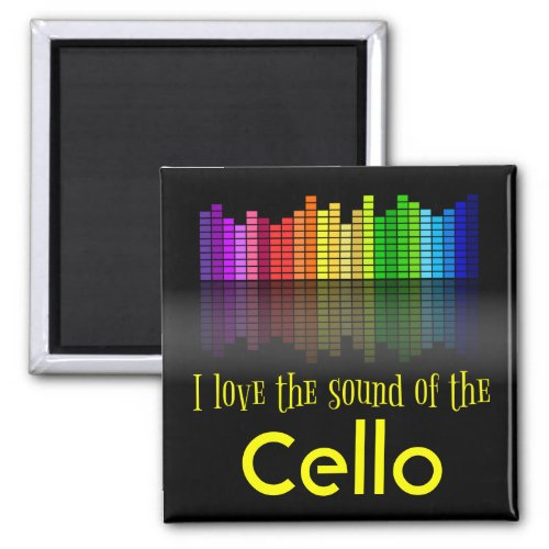 Rainbow Digital Sound Equalizer Love Sound Cello 2-inch Square Magnet