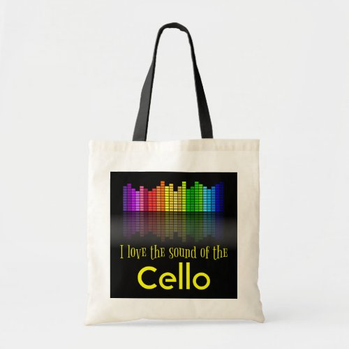 Rainbow Digital Sound Equalizer Cello Budget Tote Bag