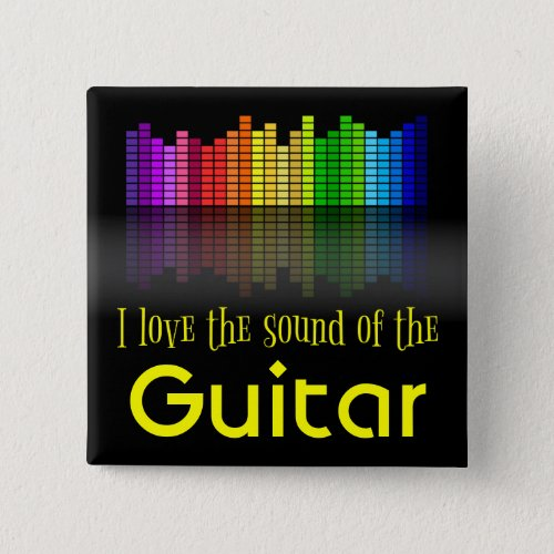 Rainbow Digital Sound Equalizer Love the Sound of the Guitar 2-inch Square Button