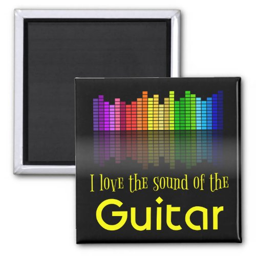 Rainbow Digital Sound Equalizer Love Sound Guitar 2-inch Square Magnet