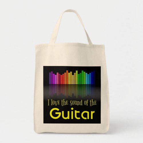 Rainbow Digital Sound Equalizer Guitar Grocery Tote Bag