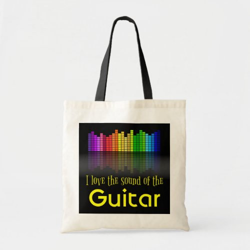 Rainbow Digital Sound Equalizer Guitar Budget Tote Bag