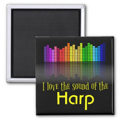 Rainbow Digital Sound Equalizer Love Sound Harp 2-inch Square Magnet
