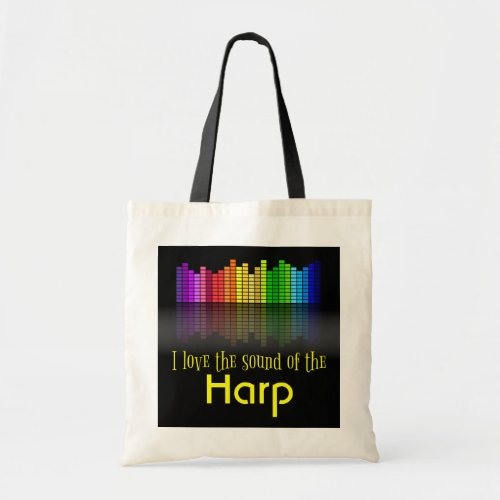 Rainbow Digital Sound Equalizer Harp Budget Tote Bag
