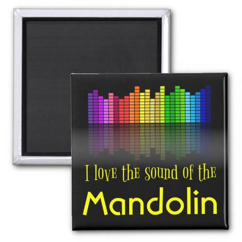 Rainbow Digital Sound Equalizer Love Sound Mandolin 2-inch Square Magnet