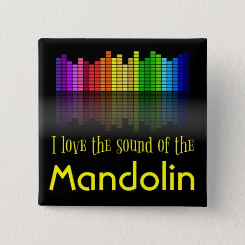 Rainbow Digital Sound Equalizer Love the Sound of the Mandolin 2-inch Square Button