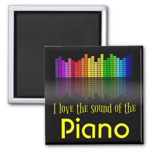 Rainbow Digital Sound Equalizer Love Sound Piano 2-inch Square Magnet