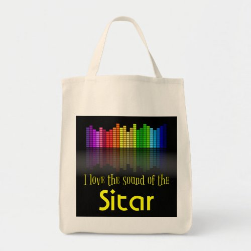 Rainbow Digital Sound Equalizer Sitar Grocery Tote Bag