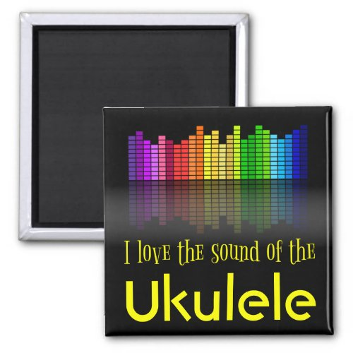 Rainbow Digital Sound Equalizer Love Sound Ukulele 2-inch Square Magnet