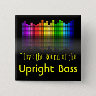 Rainbow Digital Sound Equalizer Upright Bass Pinback Button
