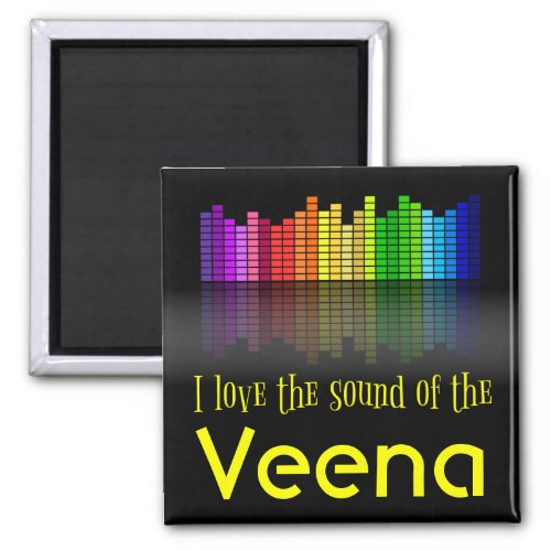 Rainbow Digital Sound Equalizer Love Sound Veena 2-inch Square Magnet