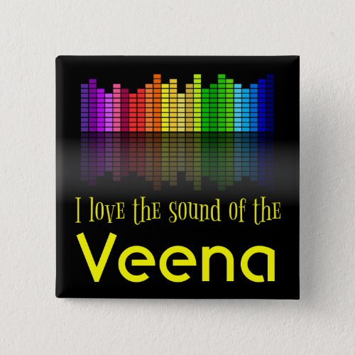Rainbow Digital Sound Equalizer Love the Sound of the Veena 2-inch Square Button