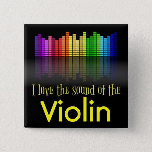 Rainbow Digital Sound Equalizer Love the Sound of the Violin 2-inch Square Button