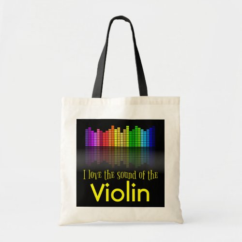 Rainbow Digital Sound Equalizer Violin Budget Tote Bag