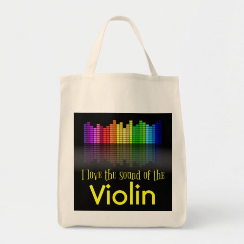 Rainbow Digital Sound Equalizer Violin Grocery Tote Bag