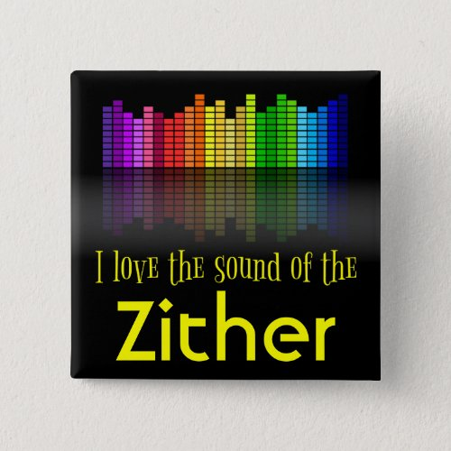 Rainbow Digital Sound Equalizer Love the Sound of the Zither 2-inch Square Button