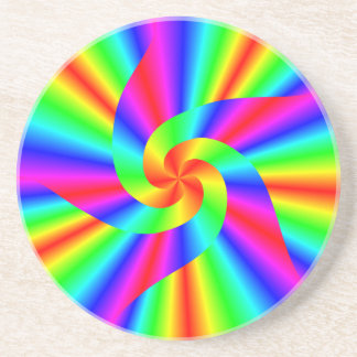 Rainbow Digital Swirl Pattern Sandstone Coaster