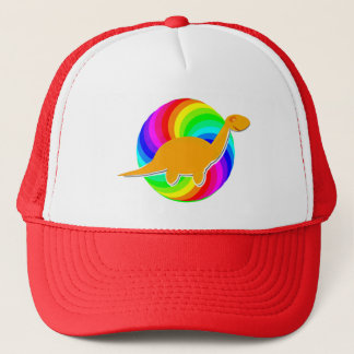 Rainbow Dinosaur Orange Diplodocus Trucker Hat