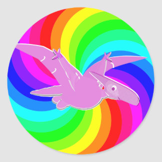 Rainbow Dinosaur Pink Pteranodon Round Stickers