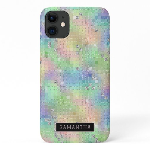 Rainbow Disco Ball Sparkle Mosaic Monogram iPhone 11 Case