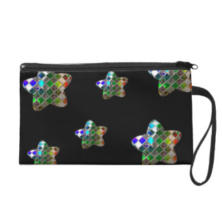Rainbow Disco Ball Stars On Black Wristlet