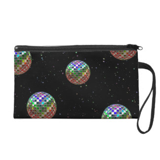 Rainbow Disco Ball Stars On Black Wristlet Purse