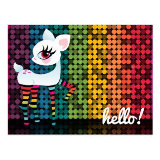 Rainbow Disco Deerie Hello Postcard