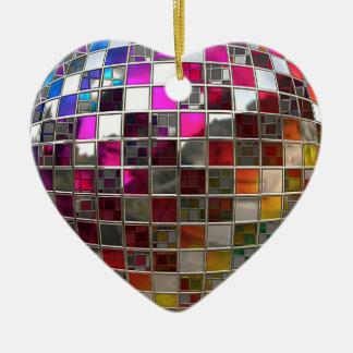 Rainbow Disco Mirrors Heart Ornament