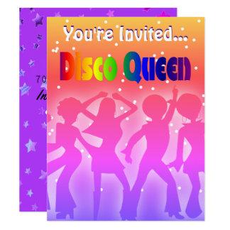 Rainbow Disco Queen | Retro 70s Party Stars Card
