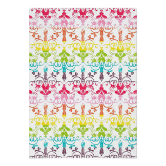 Rainbow distressed damask chandelier girly pattern poster