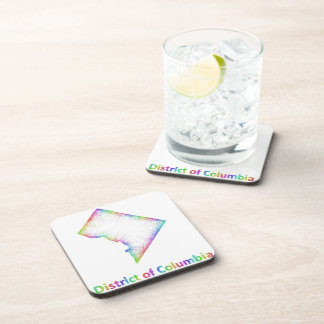 Rainbow District of Columbia map Coaster