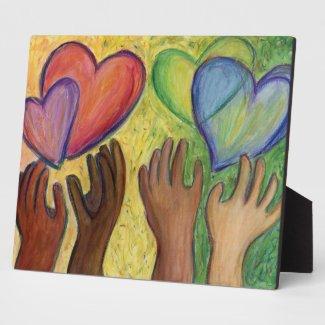 Rainbow Diversity Hearts DEI Art Print Plaques