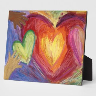 Rainbow Diversity Love Hearts Art DEI Plaque