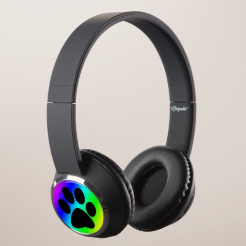 Rainbow Dog Paw Print Headphones