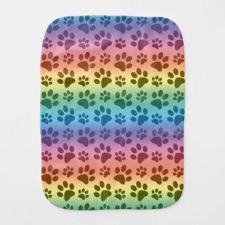 Rainbow dog paw print pattern baby burp cloth
