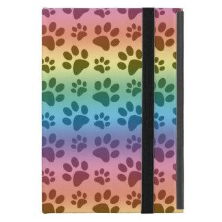 Rainbow dog paw print pattern cover for iPad mini