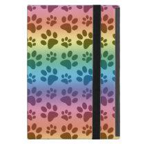 Rainbow dog paw print pattern iPad mini case
