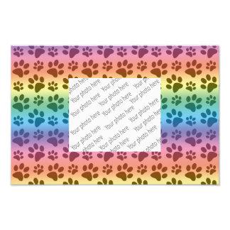 Rainbow dog paw print pattern photo print