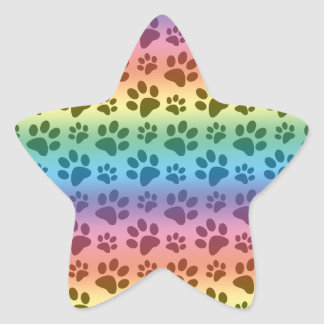 Rainbow dog paw print pattern star sticker