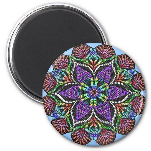 Rainbow Doily Mosaic 2 Inch Round Magnet