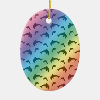 Rainbow dolphin pattern ceramic ornament