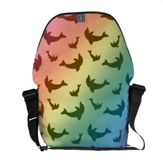 Rainbow dolphin pattern courier bags
