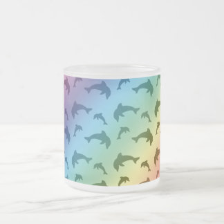 Rainbow dolphin pattern frosted glass coffee mug