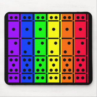 Rainbow Dominos on Black Back Design Mouse Pad