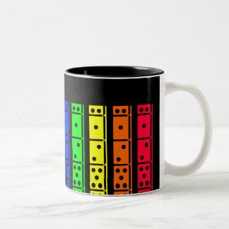 Rainbow Dominos on Black Back Design Two-Tone Coffee Mug