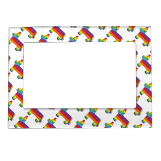 Rainbow Donkey Piñata Fiesta Birthday Party Pride Magnetic Picture Frame