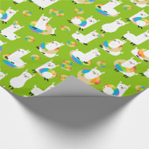 Rainbow Donut Llamas Cute Colorful Green Wrapping Paper