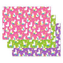Rainbow Donut Llamas Cute Colorful Wrapping Paper Sheets
